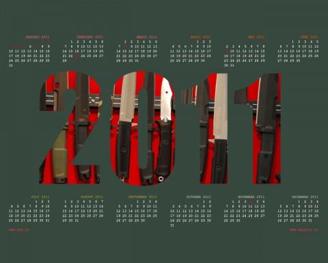 фото ножей на рабочий стол с календарем на 2011 год
