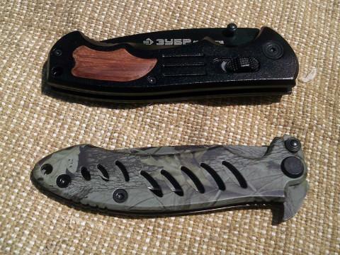 черный и камуфляжный ножи ЗУБР